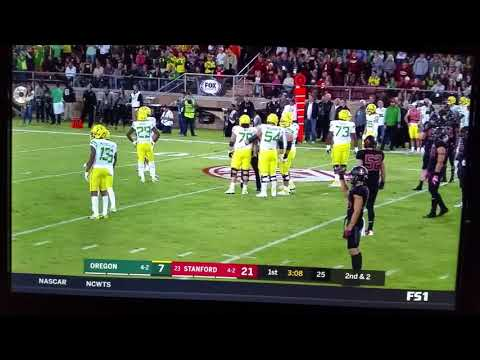 Jackrabbit runs onto the field at Stanford/Oregon football