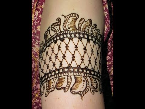 Mehndi Tattoo Designs For Upper Arms : Cuff arm band henna tattoo youtube