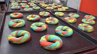 레인보우 베이글 Making Colorful Rainbow Bagels, Cream Cheese - Kore…