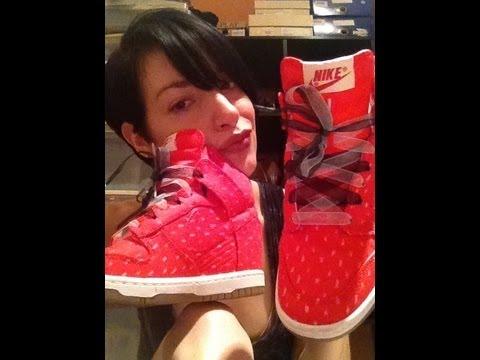 New Kicks  Nike Dunk Sky Hi Red Fabric Wedge Sneakers Vegan Style - YouTube 5f9065c2a7