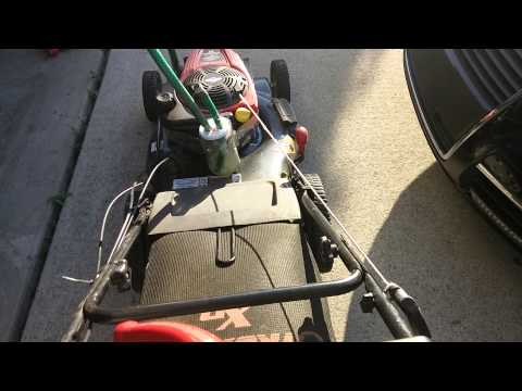 Lawn mower running on fuel vapor fumes only - test