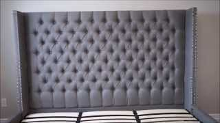 Upholstered Tufted Headboard and Bed Thumbnail