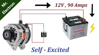 12v 90 Amps Car Alternator to Self Excited Generator using DIODE