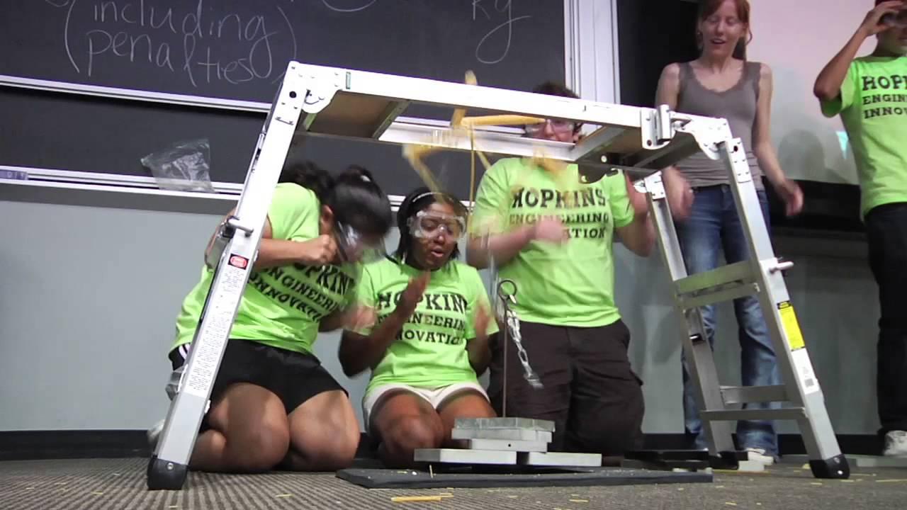 Engineering Innovation's Spaghetti Bridge Contest - YouTube
