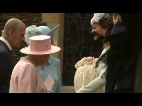 Princess Charlotte's christening: royals leaving the church