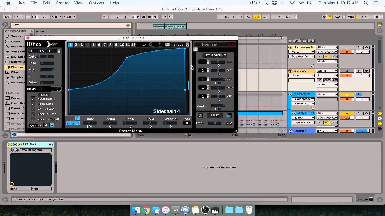 How to use LFOTool with a Sidechain Trigger - Ableton Live 9 Tutorial