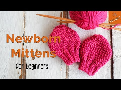 How to knit Newborn Baby Mittens for beginners - So Woolly