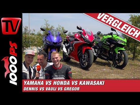 A2-Supersportler auf der Rennstrecke - Honda CBR500R vs. Kawasaki Ninja 400 vs. Yamaha YZF-R3