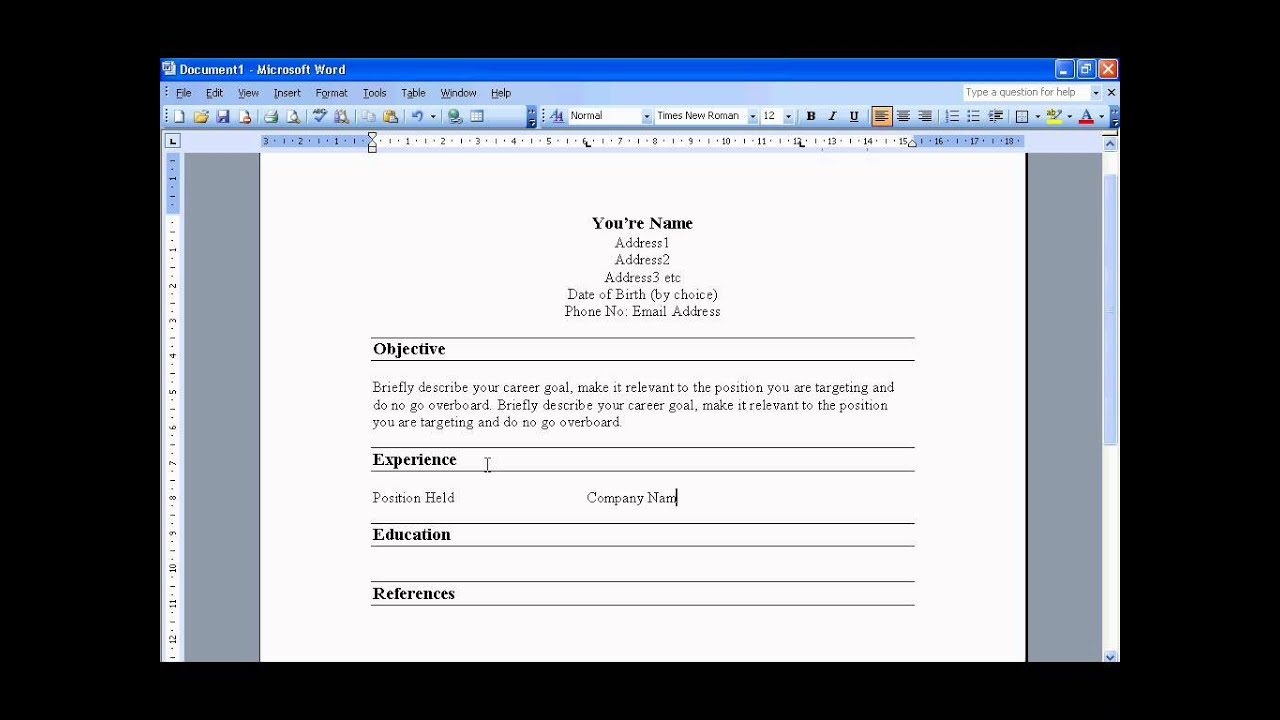 Marvelous Create A Resume In Word 2003   YouTube Regard To How To Word A Resume