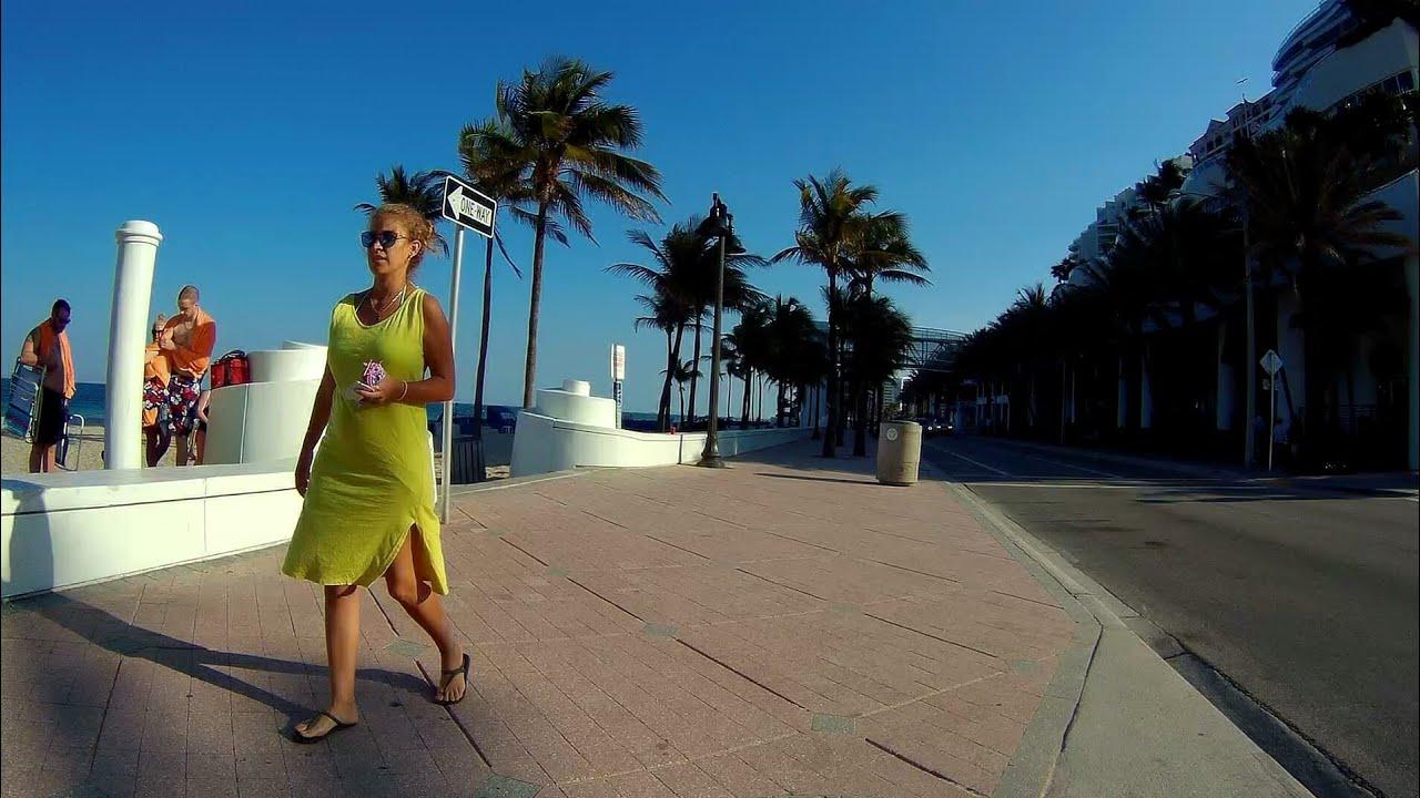 Fort Lauderdale Beach Biking On A1a Beautiful Boardwalk Florida