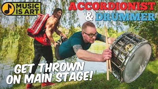 Accordionist & Drummer thrown on MAIN STAGE at Music Festival - Music Is Art - Buffalo, NY
