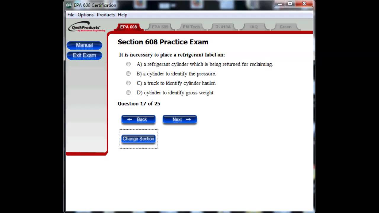 Epa 608 Refrigeration Exam Core Practice Questions Youtube