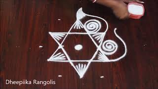 simple rangoli design with 5 dots II freehand kolam designs for beginnegs II friday muggulu
