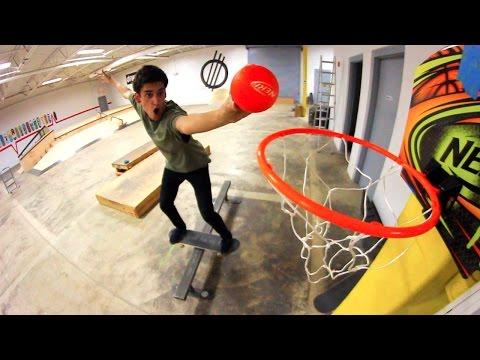 EPIC SKATEBOARDING BASKETBALL TRICK SHOTS!