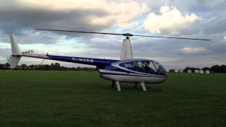 Robinson R44 Helicopter Take Off And Landing Darley Moor Airfield