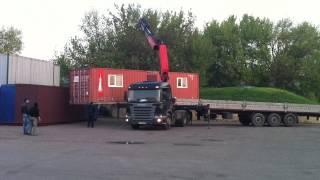 Кран Манипулятор выгружает бытовку весом 5тонн. Киев.(, 2014-05-21T15:03:43.000Z)