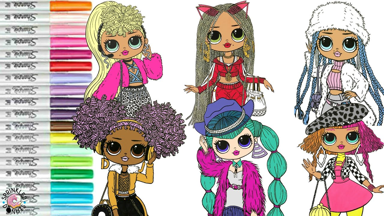 Lol Surprise Omg Coloring Book Compilation Swag Neonlicious Lady Diva Cosmic Nova Snowlicious 24k Dj Youtube