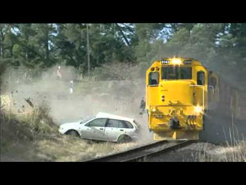 Controlled train collision - showing time it takes for train