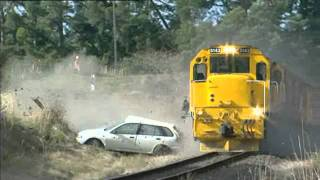 Controlled train collision - showing time it takes for train to stop.wmv