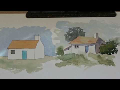 Simple buildings in watercolor