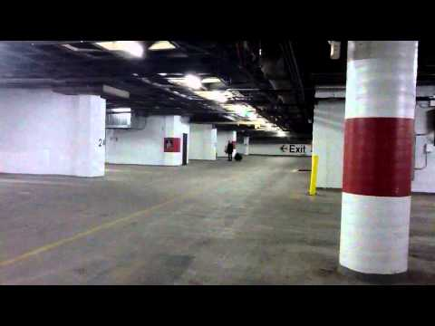 Opera singer in parking garage