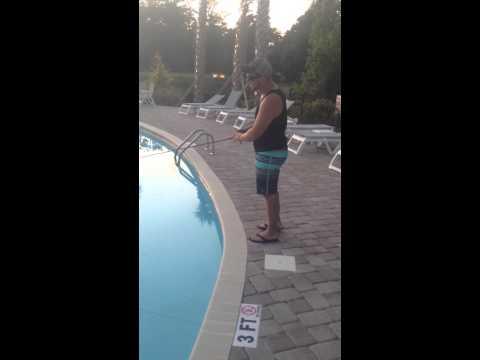 Bass fishing in a pool