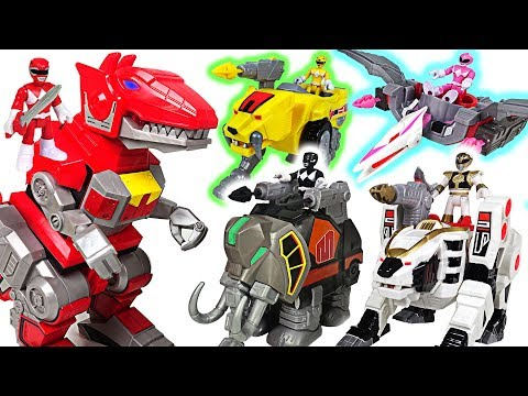 Giant crocodile appeared in Tayo town! Go! Power Rangers black, white, pink dinosaur! - DuDuPopTOY