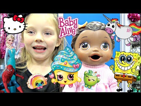 BABY ALIVE SHOPS for her BIRTHDAY DECORATIONS! The Lilly and Mommy Show. The TOYTASTIC Sisters