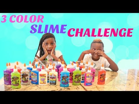 3 COLORS OF GLUE SLIME CHALLENGE!
