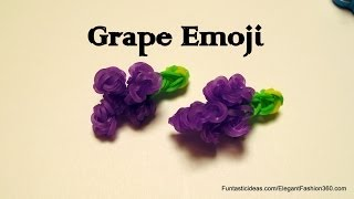 Rainbow Loom Grapes Emoji/Emoticon charm - How to