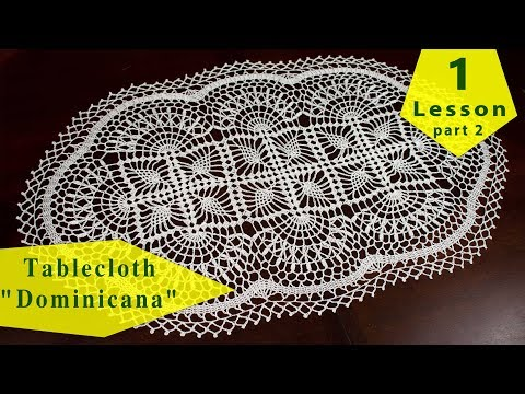 """how-to-crochet-tablecloth-""""dominicana""""-=-1-(part-2)-=-tutorial-for-beginners"""