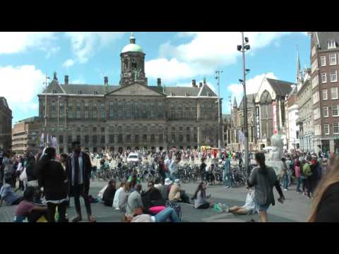 exterior view of Dutch Royal Palace on Dam Square, Amsterdam, the Netherlands