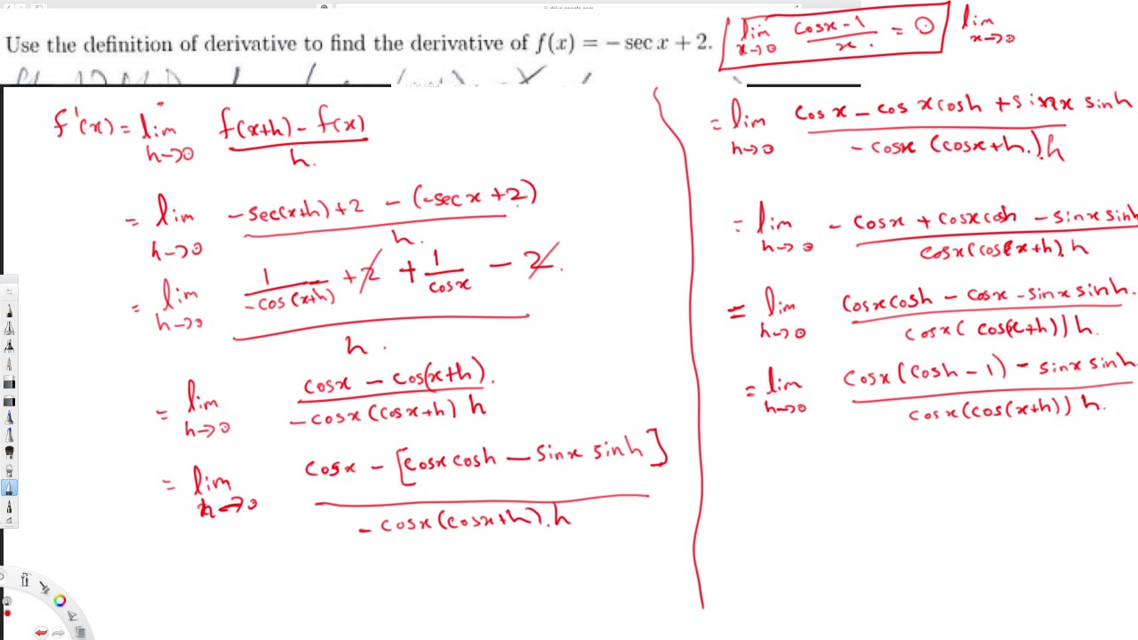 Use the definition of derivative to find the derivative of f(x ...