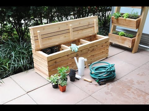 Free Plans Build A Modern Outdoor Storage Bench Youtube