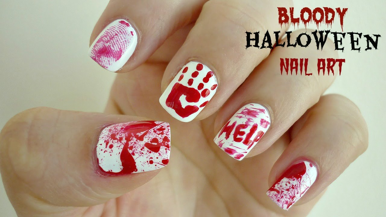 Easy Bloody Halloween Nail Art! Crime Scene - YouTube