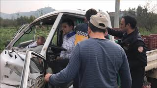 Virajı Alamayan Otomobil Kaza Yaptı: 2 Yaralı