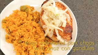 Puerto Rican Mojo Marinated Pork Chops With Spanish Rice And Pigeon Peas (arroz Con Grandules)