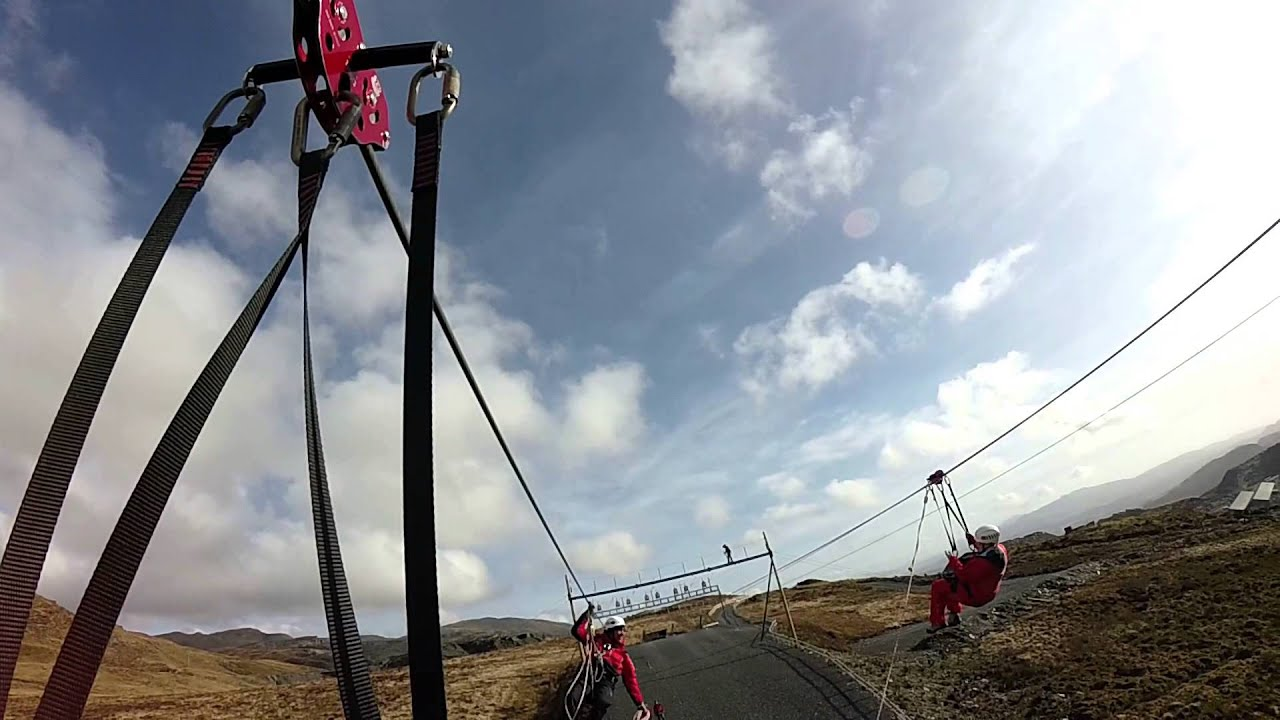 Stuck on the Titan Zip Wire, Wales - YouTube