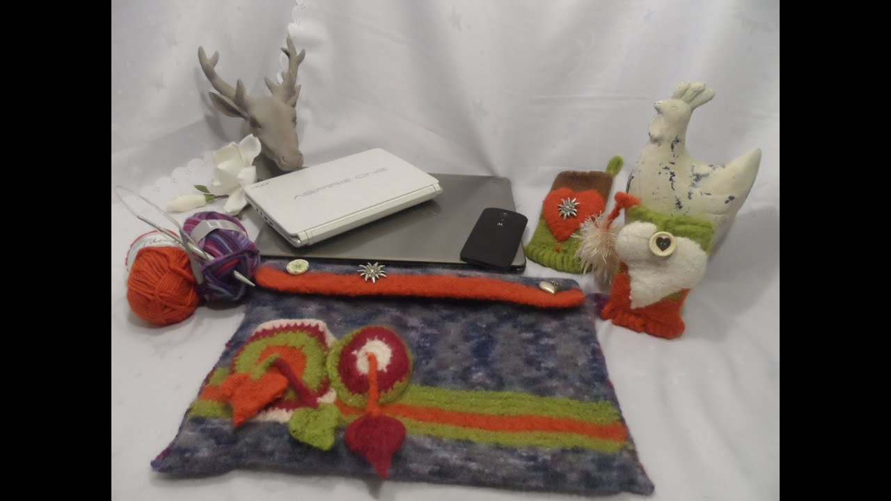 diy filz notebook laptoptasche tasche schultertasche selber stricken und filzen youtube. Black Bedroom Furniture Sets. Home Design Ideas