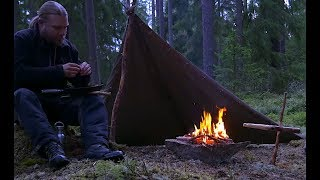 Bushcraft Overnight with the Swedish Lone Wolf Poncho - Pot Hanger - Fishing - Cooking