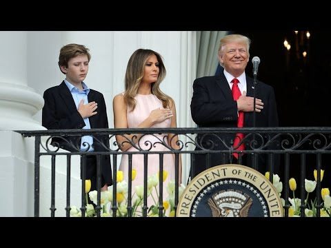 Melania Nudges President Trump to Put Hand on Heart for 'Star-Spangled Banner'