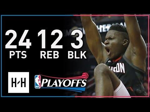 Clint Capela Full Game 1 Highlights Timberwolves vs Rockets 2018 Playoffs - 24 Pts, 12 Reb, 3 Blks!