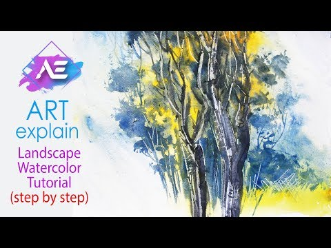 Tree Watercolor Landscape Painting | How to paint a watercolor landscape Jungle | Art Explain