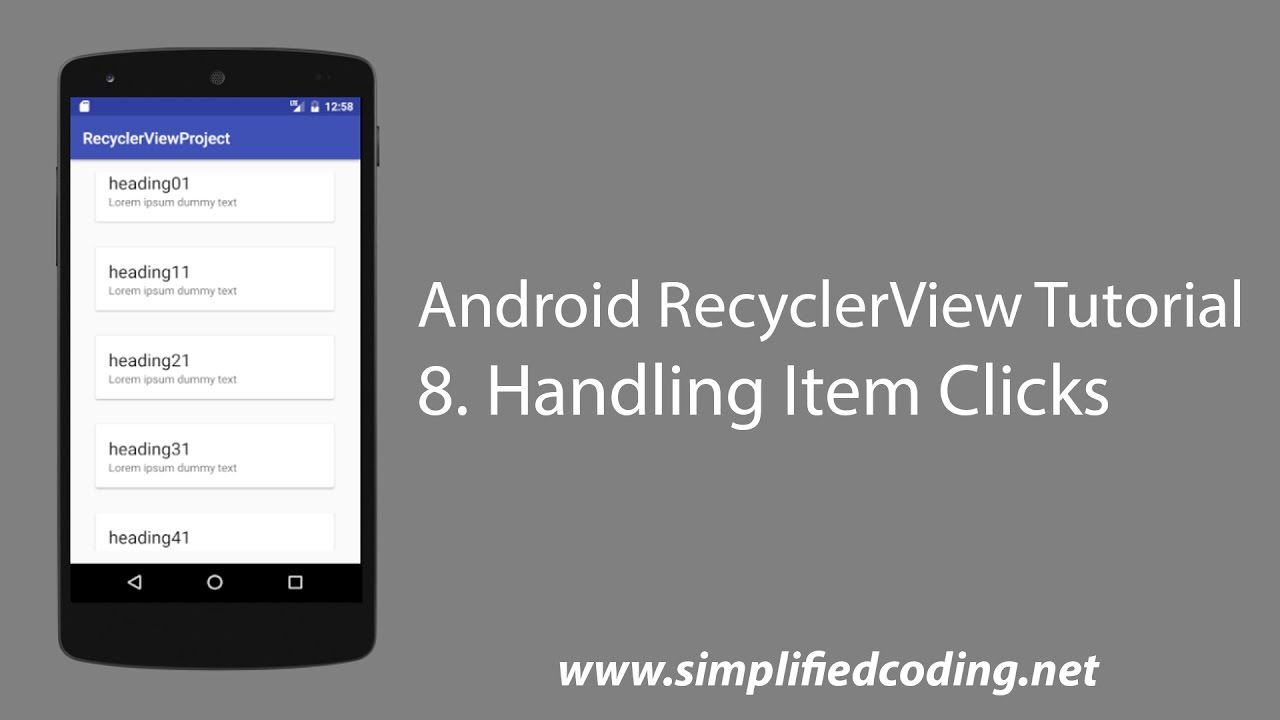 8  Android RecyclerView Tutorial - Handling Item Clicks