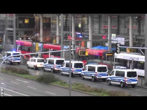 16:54 CET Street shuttle bus police guest fans Dynamo Dresden vs. Energie Cottbus (0:1)
