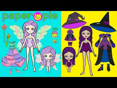 Paper Dolls Dress Up | Fairy & Witch Dresses | Mother & Daughters | Handmade Quiet Book