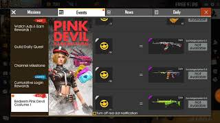 How To Collect Emote Badges & Redeem Pink Devil Costume || Free Fire New Event Watch Adds & Earn