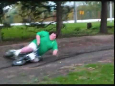 Fat Kid Falls of Pit Bike! - YouTube