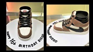 Pastel de Tenis Air Jordan.Travis Scott Air Jordan Shoe Cake. Air Jordan Nike  Shoe Cake