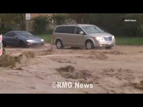 Large storm causes heavy flooding in Palmdale, California. Oct 2015